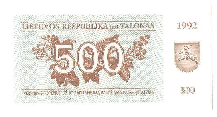 Lietuvos Respublikos 500 talonu 1992 metu