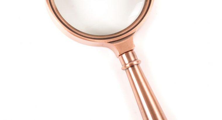 Prabangus metalinis 80mm diametro 10X padidinamasis stiklas lupa