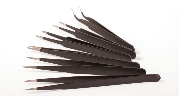 Šešių antistatinių pincetų rinkinys smulkiems darbams ir kolekcijų priežiūrai