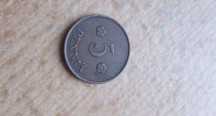 5 pennia , Suomija , 1920
