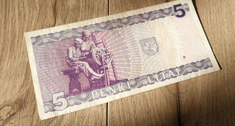 5 litu banknotas 1993 m is apyvartos