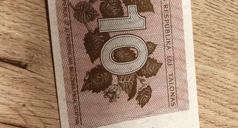 10 lietuvisku talonu banknotas UNC 1991