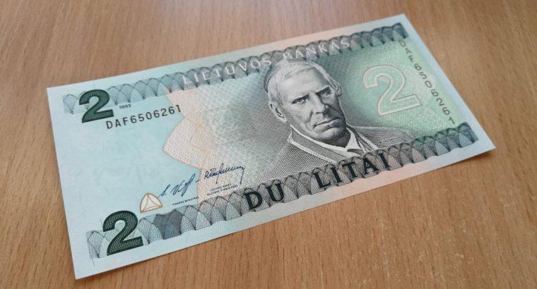 2 litu banknotas unc 1993 Valancius