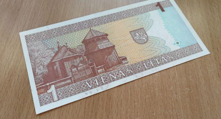 Vieno lito banknotas. Zemaite unc
