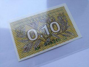 Lietuvos Respublikos 0.10 Talono banknotas UNC 1991 metai