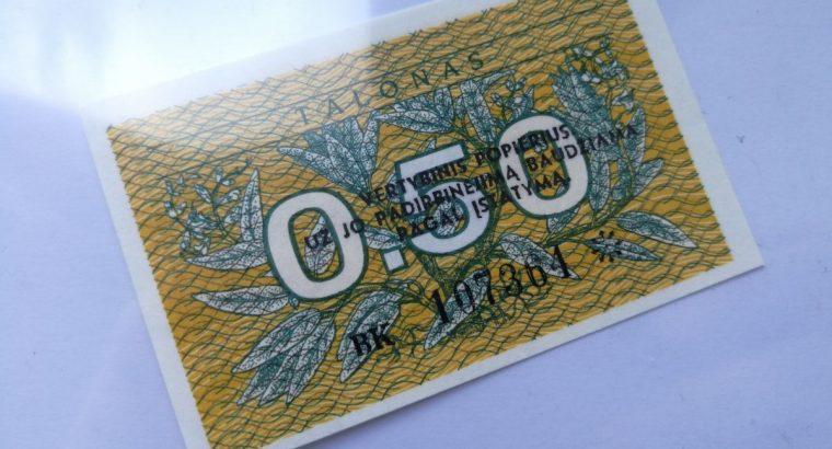 Lietuvos Respublikos 0.50 Talono banknotas UNC 1991 metai