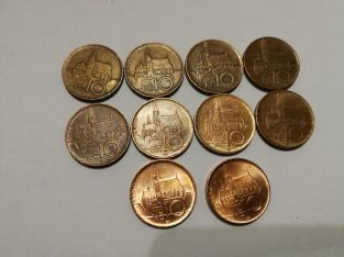 10 vnt skirtingu Cekijos 10 Kronu monetu kolekcija