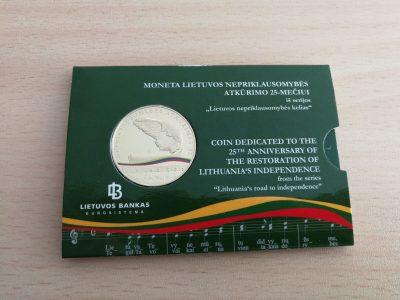 5 Euru moneta Lietuvos nepriklausomybes 25-meciui su bankine pakuote