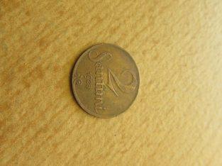 2 santimi , Latvija , 1928 .