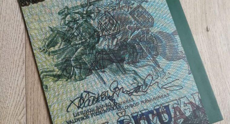Suvenyriniu litu banknotu rinkinys 100Lt 1994m, 500Lt 1991m ir 1000Lt 1991m