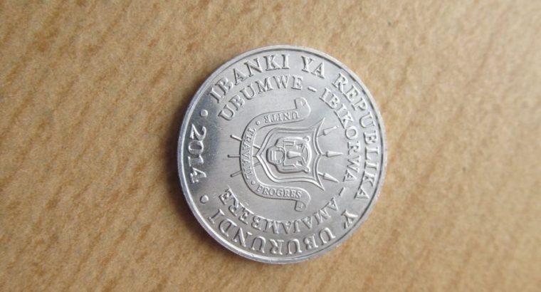 5 franks , Burundis , 2014 unc ..