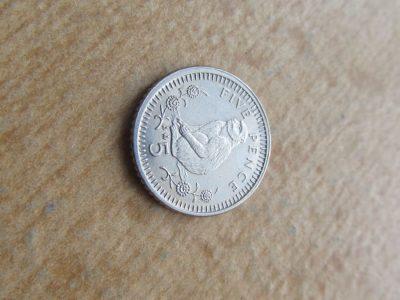 5 pence , Gibraltaras , 1990
