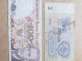 100 zlotu Lenkija + 3 rubliai CCCP