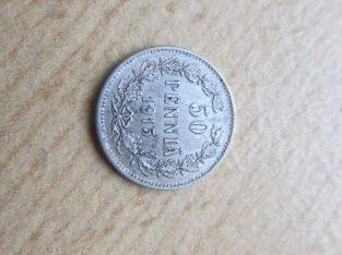 50 pennia , Suomija Rusija , 1915 sidabras