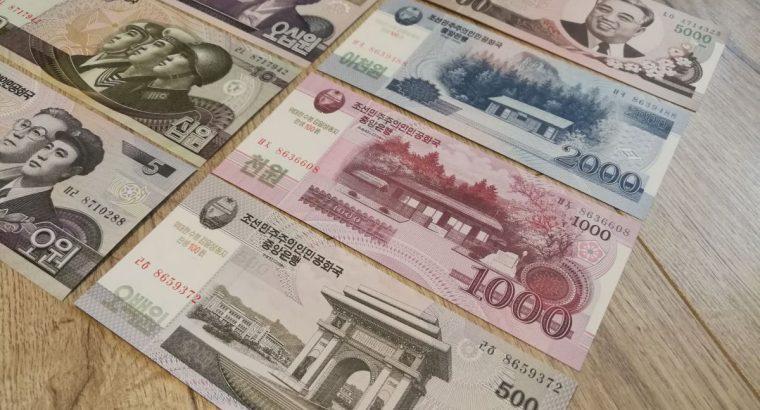 9 vnt. Siaures Korejos vonu banknotu kolekcija