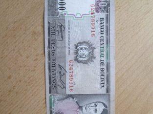1000 pesos , Bolivija , 1982