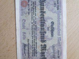 100 000 mark , Kelnas Vokietija , 1923