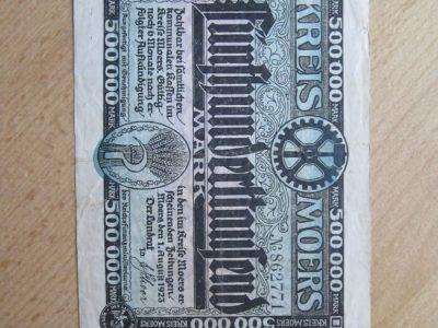 500000 mark , Moers Vokietija , 1923