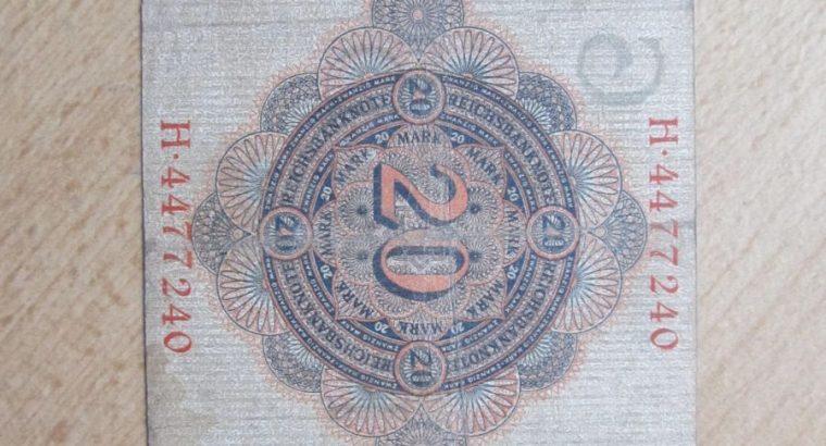20 mark , Vokietija , 1910
