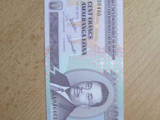 100 francs , Burundis , 2010 unc
