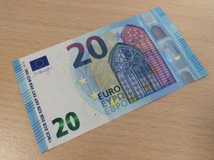 20 eur necirkuliaves apyvartoje banknotas