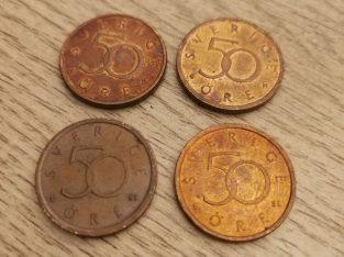 4 vnt skirtingu metu 50 Svedijos eriu monetos