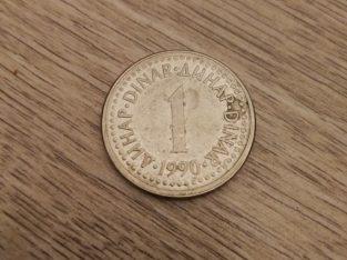 1 Jugoslavijos dinaro moneta 1990 metu