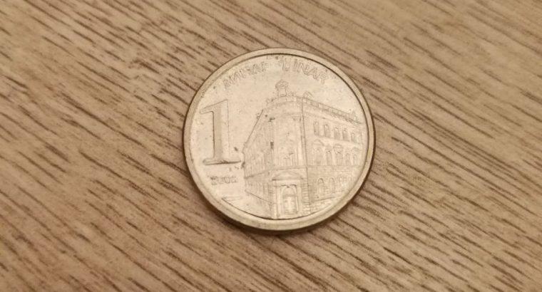 1 Jugoslavijos dinaras 2002 metu moneta