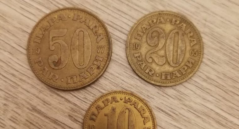 Triju Jugoslavijos paru monetu kolekcija