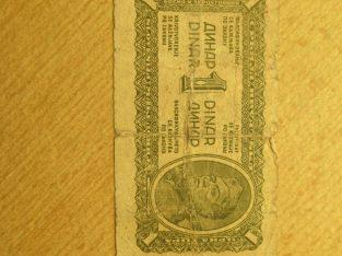 1 dinaras , Jugoslavija , 1944
