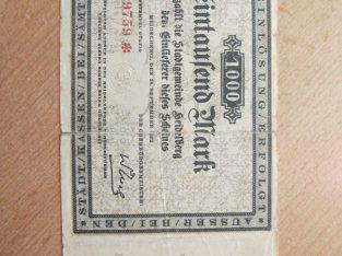 1000 mark , Heidelbergas Vokietija , 1922 ilgas