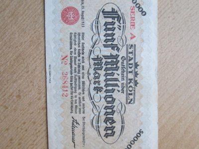 5 milijonai markiu , Kelnas Vokietija , 1923