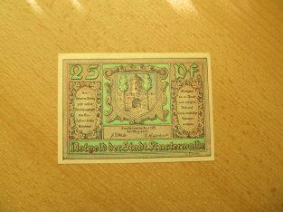 Notgeldas 25 pfennig, Finstervaldė Vokietija, 1921