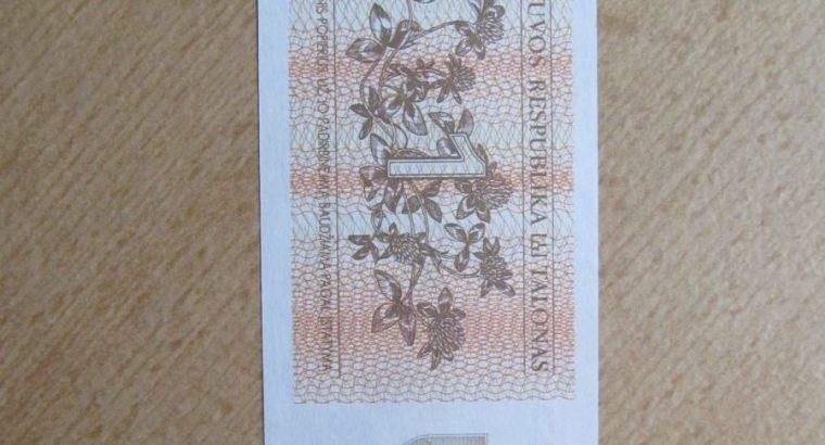 1 talonas , Lietuva , 1992 unc pempės