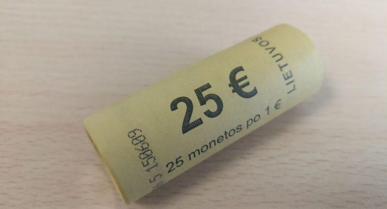 25vnt unc 1 euro monetu bankinis ritinelis