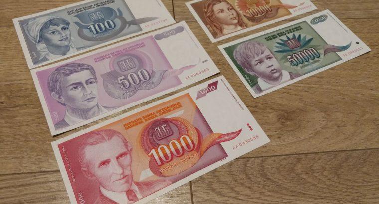 Penkiu Jugoslavijos dinaru necirkuliavusiu apyvartoje banknotu kolekcija