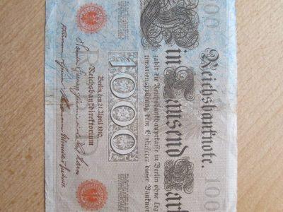 1000 mark , Vokietija , 1910 raudonas štampas