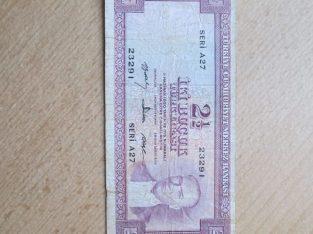 2 1/2 turkish lira , Turkija , 1960