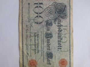 100 mark , Vokietija , 1908 raudonas štampas