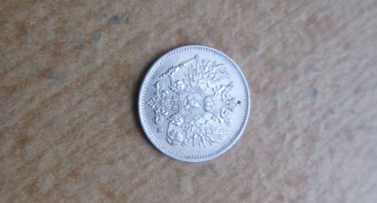 25 pennia , Suomija Rusija , 1915 sidabras