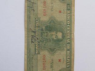 5 bolivianos , Bolivija , 1928