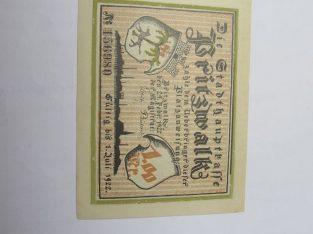 Notgeldas 1 mark , Pritzwalk Vokietija , 1922