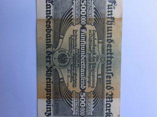 500.000 mark , Diuseldorfas Vokietija , 1923