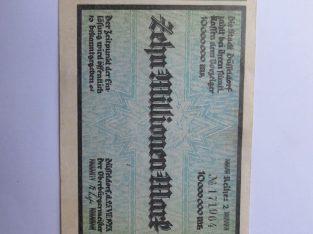 10 milijonu markiu , Diuseldorfas Vokietija , 1923