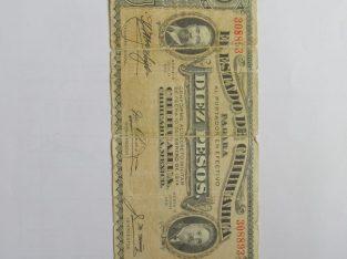 10 pesos , Chihuahua , 1914