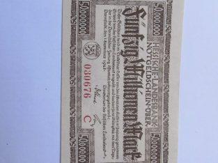 50 milijonu markiu , Darmštatas Vokietija , 1923