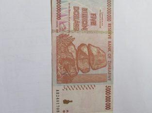 5 bilijonai doleriu , Zimbabvė , 2008