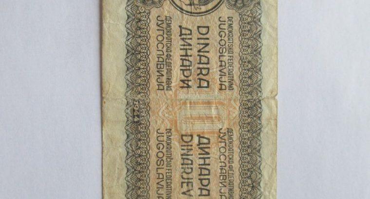 10 dinaru , Jugoslavija , 1944 retokas