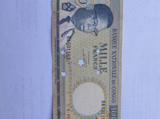 1000 francs , Kongas , 1964