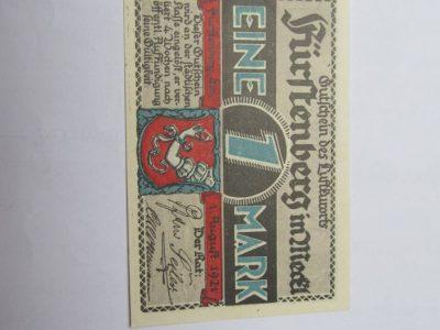 Notgeldas 1 mark , Furstenberg Vokietija , 1921